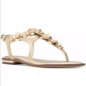 MICHAEL KORS Tricia Gold Slingback Thong Sandals 8